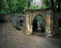Cibulka - romantic ruin in a park in the center of Prague.
