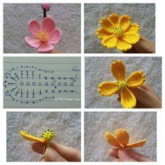 This Pin was discovered by Але 15 diy crochet flower patterns 1001 crochet by – Artofit Diy Crochet Flowers, Crochet Puff Flower, Crochet Flower Tutorial, Crochet Leaves, Knitted Flowers, Crochet Flower Patterns, Crochet Diagram, Crochet Chart, Crochet Motif
