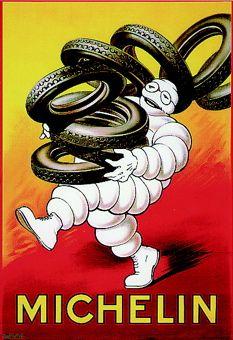 The Michelin Man vintage poster Pub Vintage, Vintage Metal Signs, Vintage Racing, Vintage Labels, Vintage Cards, Vintage Advertising Posters, Old Advertisements, Vintage Posters, Creative Advertising