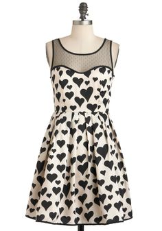 Heart Over Heels Dress - Mid-length, Tan / Cream, Black, Novelty Print, Party, A-line, Fall, Tank top (2 thick straps)
