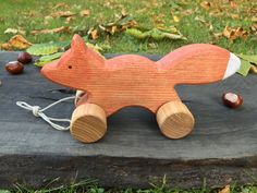 Big Wooden Toy Fox Pull Along ToyBaby by WoodenFrogLV on Etsy