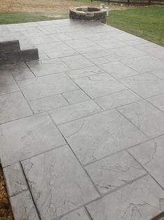 Dublin Ohio Stamped Concrete Patio Project Custom Concrete Plus Concrete Patio Designs, Cement Patio, Backyard Patio Designs, Patio Ideas, Stamped Concrete Patterns, Concrete Backyard, Driveway Ideas, Stamped Concrete Patios, Concrete Stamping