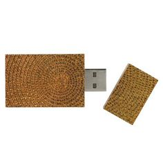 Gold Spiral Pattern Wood Flash Drive - patterns pattern special unique design gift idea diy