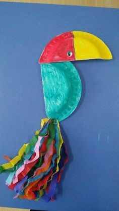 paper plate toucan craft use strips of paper instead of tissue paper and show how to fold or curl the tail 'feathers' Vbs Crafts, Bird Crafts, Camping Crafts, Animal Crafts, Toddler Crafts, Crafts For Kids, Arts And Crafts, Paper Plate Crafts, Paper Plates