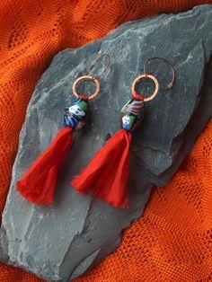 sari silk earrings, handmade sari silk earrings, Bollywood earrings, LAKHSHMI, copper earwires