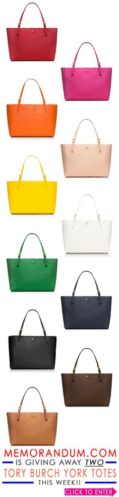 I'm giving away two brand new Tory Burch York Buckle Totes on the new MEMORANDUM.COM this week!  Enter to win one in the color of your choice!