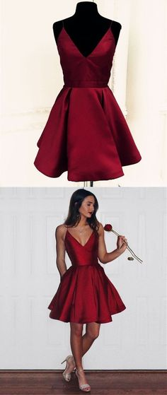 Short Satin V-neck Spaghetti Straps Prom Homecoming Dresses Shop plus-sized prom dresses for curvy figures and plus-size party dresses. Ball gowns for prom in plus sizes and short plus-sized prom dresses for Cheap Short Prom Dresses, Burgundy Homecoming Dresses, Cocktail Bridesmaid Dresses, Cocktail Dresses, Wedding Dresses, Semi Dresses, Hoco Dresses, Elegant Dresses, Casual Dresses