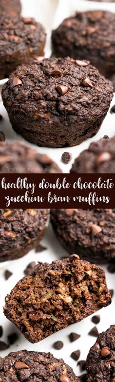 {HEALTHY!} Double Chocolate Bran Muffins -- they practically taste like brownies, for just 105 calories! SO rich & chocolaty, and they're so easy to make! (No mixer needed!) Totally kid-approved and freezer-friendly! | healthy bran muffins | easy bran muffins | best healthy bran muffins
