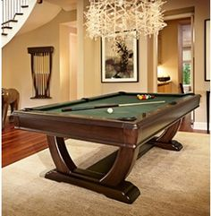 The Brunswick Desoto pool table with beautiful curved legs and many cloth colours available is a perfect piece of furniture for a home