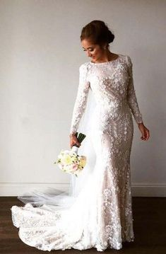 Discount Outstanding Modest Wedding Dresses Gorgeous Lace Mermaid Wedding Dresses With Long Sleeves Chapel Train Modest Bride Gowns Lace Mermaid Wedding Dress, Wedding Dress Sleeves, Long Sleeve Wedding, Tulle Wedding, Bridal Wedding Dresses, Dream Wedding Dresses, Lace Weddings, Long Sleave Wedding Dress, Warm Wedding Dress