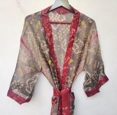 Kimono Dress, Long Kimono, Floral Kimono, Silk Kimono, Festival Outfits, Festival Clothing, Wedding Kimono, Indian Silk Sarees, Kimono Fashion