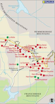 Franschhoek wine region map Wine Facts, South African Wine, Visit South Africa, Chamonix, Victoria Falls, African History, Wine Recipes, Farms, Cheers