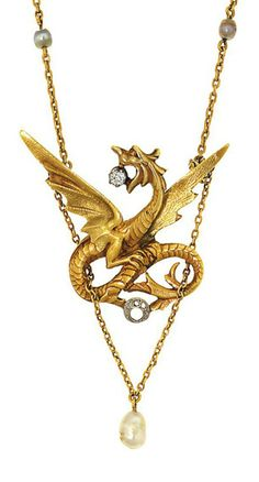 A Neo-Gothic diamond-set dragon brooch pendant  Cast and chased in the form of a winged dragon grasping an old brilliant-cut diamond in its mouth, suspending from its wings trace-link chains terminating in a freshwater pearl drop, to a trace-link neck chain set with further freshwater pearls, circa 1900, French marks, chain 50.5cm long, pendant/brooch 6.3cm long