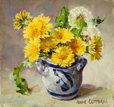 Dandelions, oil on board, by Anne Cotterill at Thompson's Gallery Oil Painting Flowers, Watercolor Flowers, Watercolor Art, Jig Saw, Modern Art For Sale, Islamic Paintings, Flower Artists, Magnolia Flower, Still Life Art