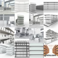 Collection of 3D interior shop showcase stand rack shelf products 25 HQ Jpeg