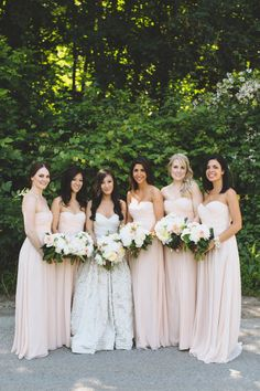 Blush bridesmaid dresses: http://www.stylemepretty.com/canada-weddings/ontario/toronto/2014/09/30/garden-inspired-estate-wedding/ | Photography: Mango Studios - http://mangostudios.com/