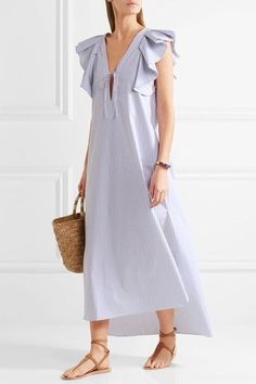 3c35fec7fdc Three Graces London - Cordelia ruffled striped cotton-poplin maxi dress
