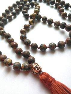Red Leopard Skin Jasper Mala Handknotted by MountainMalas on Etsy, $45.00