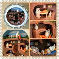 Quadro em madeira e personagens em biscuit