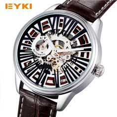 41.99$  Watch more here - http://aibjx.worlditems.win/all/product.php?id=32781407931 - EYKI Steampunk Skeleton Automatic Self Winding Mechanical Watch Genuine Leather Roman Number Watches Men Luxury Brand Wristwatch