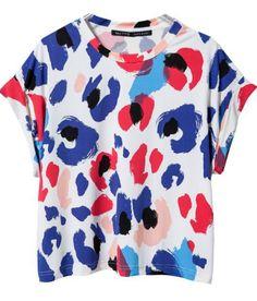 Blue Batwing Sleeve Spots Print T-shirt 14.83