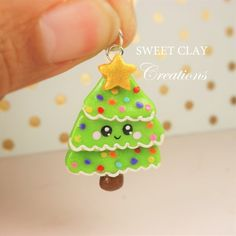 Christmas Tree Kawaii Charm Polymer Clay Handmade Jewelry by Sweet Clay Creations