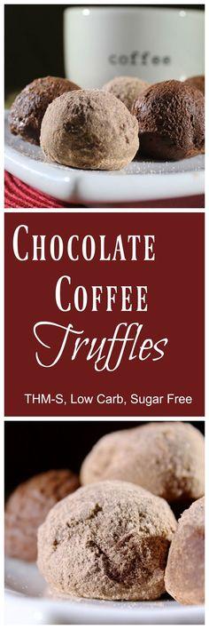 Chocolate Coffee Truffles {THM-S, Low Carb, Sugar Free}