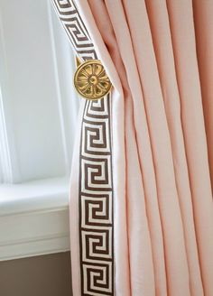Add Greek key trim from M Trimming (under a yard) to ready made curtains. Sew it on or even easier, glue it on! Copy this gorgeous look below, for example, with Ikea's pink linen Aina curtain a pair) and M's Greek Key trim in Pewter/Taupe. Plain Curtains, Drapes And Blinds, Pleated Curtains, Linen Curtains, Blush Curtains, Window Curtains, Grommet Curtains, Bedroom Curtains, Window Seats