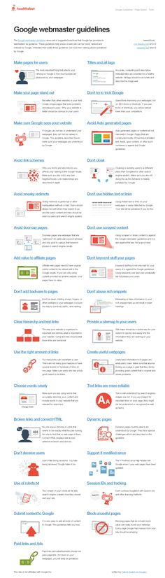 Google Webmaster Guidelines Infographic. The Google Webmaster Guidelines are a set of suggested practices that Google has provided as guidance for building websites, mobile web applications and search engine optimization (SEO). These guidelines help ensure a web site can be crawled, indexed and ranked by Google. Websites that violate these guidelines can lose their rankings in the search results and may be penalized by Google.