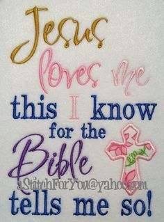 Jesus Loves me this I know, for the Bible tells me so - Applique Religion Bible Jesus - INSTANT Download Machine Embroidery Design by Carrie