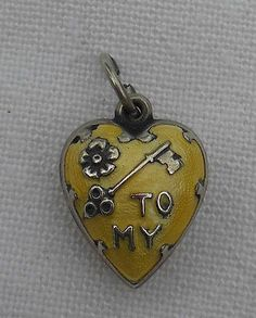 Vintage Sterling Silver Guilloche Key to My Heart Puffy Heart Charm | eBay