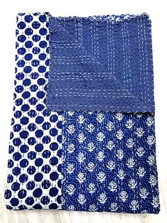 King size Indigo Blue Kantha Quilt, Indian Patchwork Handmade Kantha Bedding Bedspread Cotton Blanket, Reversible Gudri Ralli Vintage Decor