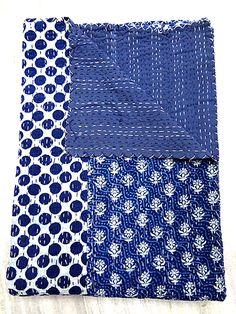King size Indigo Blue Kantha Quilt, Indian Patchwork Handmade Kantha Bedding Bedspread Cotton Blanket, Reversible Gudri Ralli Vintage Decor