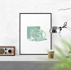 Mint Old Camera Printable Photography Art by WallCandyPrintables