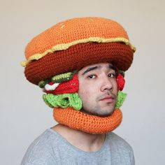 Number 3: The Burger Hat.  After months of trying to figure out how to make it, I finally finished my burger hat!  Inspired by the wonderful work @tuckshoptakeaway and the Minor Burger!