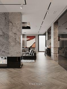 Gray Interior, Interior Design Living Room, Modern Interior, Interior Architecture, Contemporary Fireplace Designs, Ceiling Light Design, Living Room Inspiration, Modern House Design, Interiores Design