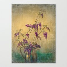 Vintage Wisteria Flower Vine Still Life Stretched Canvas by V. Sanderson / Chickens in the Trees - $85.00