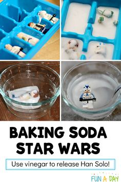 "An awesome baking soda and vinegar science experiment with a Star Wars theme! Use the vinegar to free Han Solo and his LEGO friends from the frozen baking soda ""carbonite."" Preschoolers and older kids alike will love this one! Science Activities For Kids, Preschool Science, Science Experiments Kids, Preschool Activities, Kid Science, Lego Projects, Science Projects, Projects For Kids, Star Science"