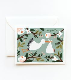 Congrats Stork Greeting Card by Rifle Paper Co. The Stork is coming to make his or her delivery! A great new baby card for a boy or girl! Vogel Illustration, Wedding Illustration, Congratulations Baby, New Baby Cards, Rifle Paper Co, Baby Shower, Paper Goods, New Baby Products, Birthday Cards