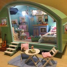 Buy Lovely room DIY Wooden Dollhouse Miniature Kit Doll house LED+Music+Voice Control For Kids at Wish - Shopping Made Fun Wooden Dollhouse, Diy Dollhouse, Dollhouse Miniatures, Victorian Dollhouse, Miniature Rooms, Miniature Houses, Diy Hanging Shelves, Floating Shelves, Doll Furniture