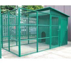 Grand #chenil Salerno à positionner dans le #jardin. Enclos extérieur conçu en acier, peint en vert. http://www.animaleco.com/catalogue/chien/accessoires-chien/niches-et-accessoires-exterieurs/chenil-et-accessoires-d-exterieur/chenil-salerno-150-400x200-1