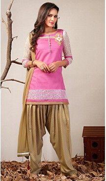Panjabi Rose Pink Chanderi Silk Straight Cut Readymade Patiyala Suit   FH461972118 #Readymade, #Panjabi, #Patiyala, #Suit, #Online