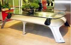Repurposed Car Top into Coffee Table #upcycled #recycled