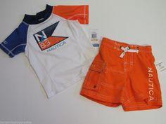 NWT Nautica 2 Pc Swimsuit Set Swim Trunks & Rash Guard Shirt Toddler Boys 2T $54 #Nautica #SwimTopSwimBottoms