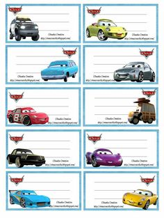 Etiquetas escolares.                                                                                                                                                                                 Mais School Name Labels, Name Tag For School, Printable Name Tags, Printable Labels, Flash Mcqueen, Notebook Labels, Cars Birthday Invitations, Cute Journals, Disney Scrapbook
