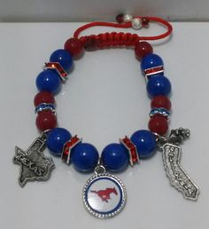 http://www.etsy.com/Shop/BijouByNija SMU Macrame Bracelet with Texas and California Charms attached. Starting at $25 w/ 3 Charms..you want less or more contact me at: bijoubynija@gmail.com