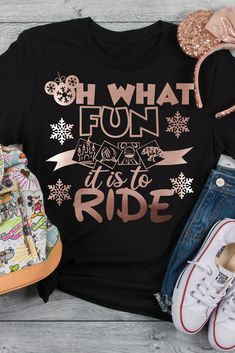 "Oh What Fun it is to Ride is the perfect tee for a Disney Holiday Vacation. This also makes a great gift for ""Disney Ride Loving"" family and friends. Mickey Christmas, Christmas Shirts, Cozy Christmas, Sassy Shirts, T Shirts For Women, Vinyl Designs, Shirt Designs, Disney Rides, Xl Shirt"