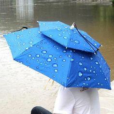 UMBRELLA HAT DOUBLE LAYERS FISHING PARASOL RAIN UMBRELLA BEACH SUNSHADE ANTI-UV UMBRELLA HAT CAP