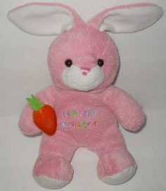"""Walmart Pink Happy Easter Baby Bunny Rabbit 9"""" Plush Stuffed Animal Carrot #2 #DanDee"""