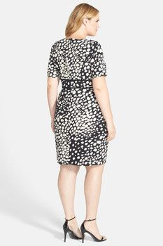 b896d7a6c76 Adrianna Papell Adrianna Papell Contrast Trim Print Crepe Dress (Plus Size)  Crepe Dress
